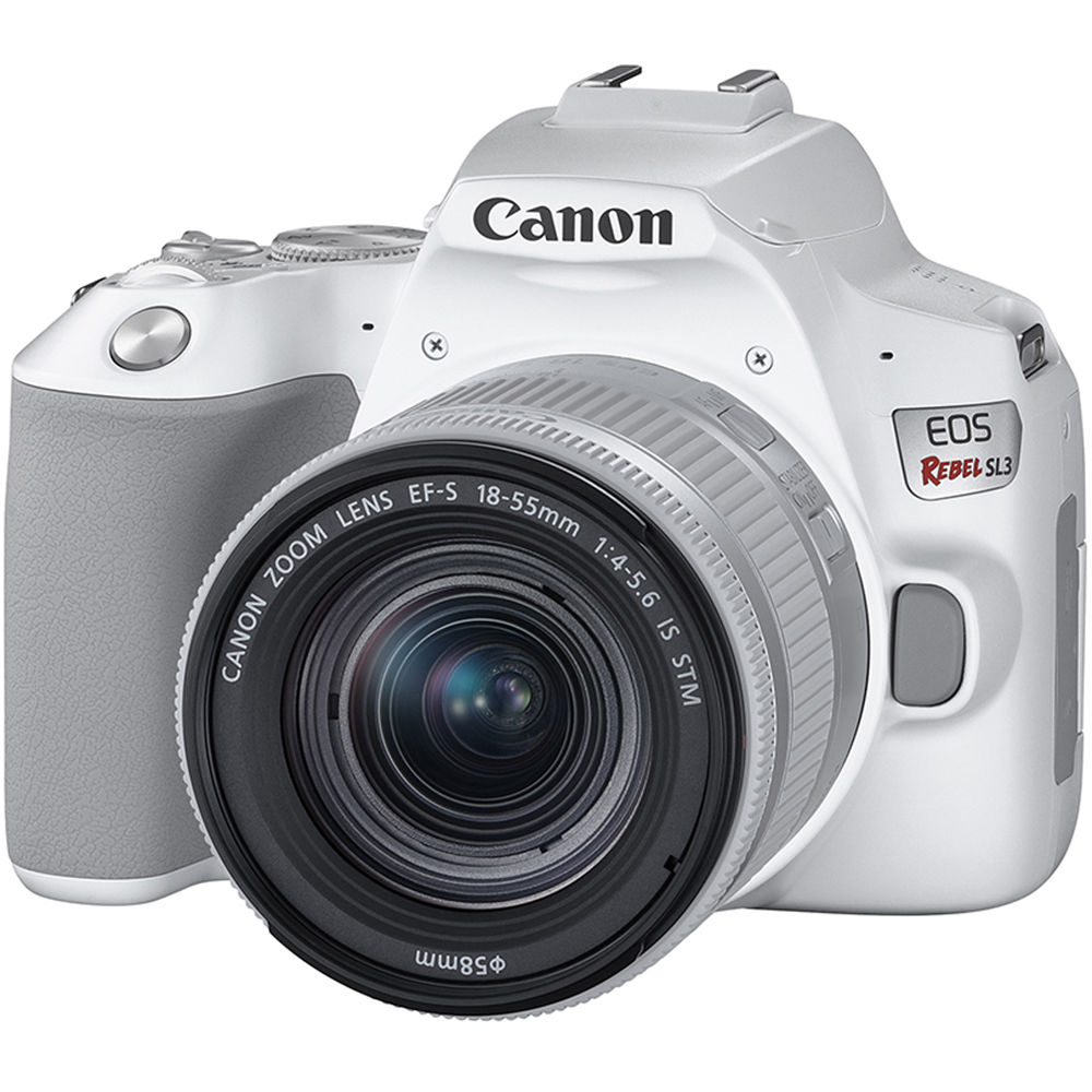 Canon eos rebel sl3 dslr camera with 18 55mm lens white