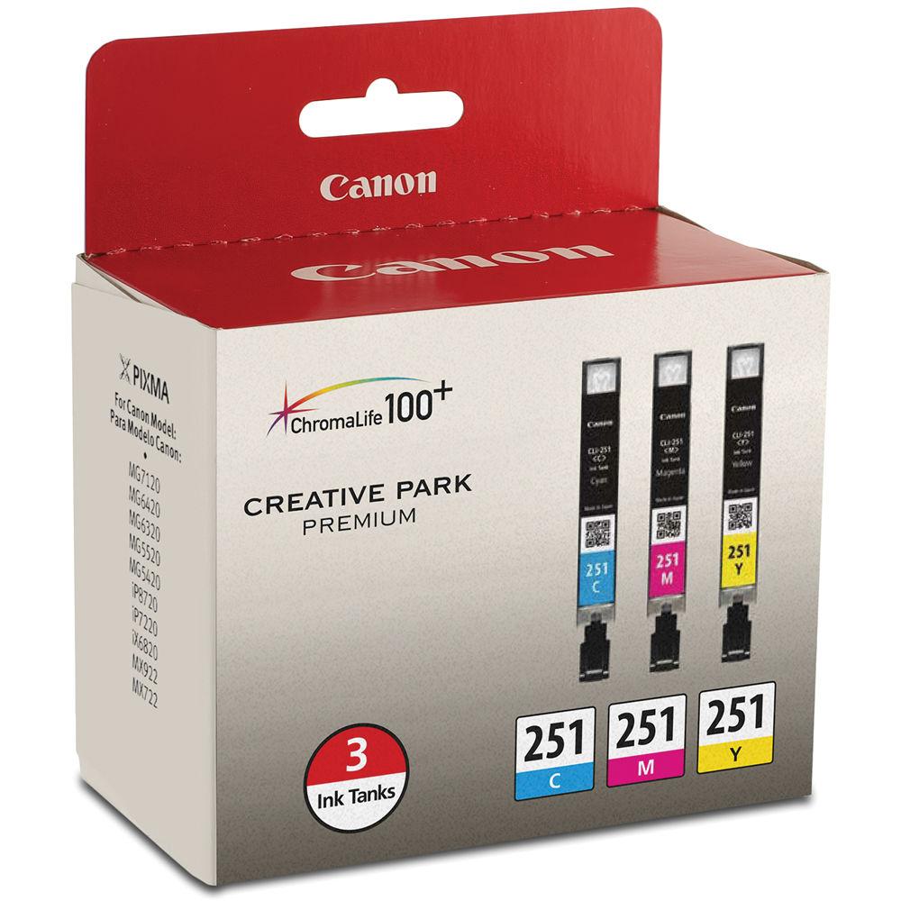 Canon CLI-251 3-Cartridge Ink Set 6514B009 B&H Photo Video