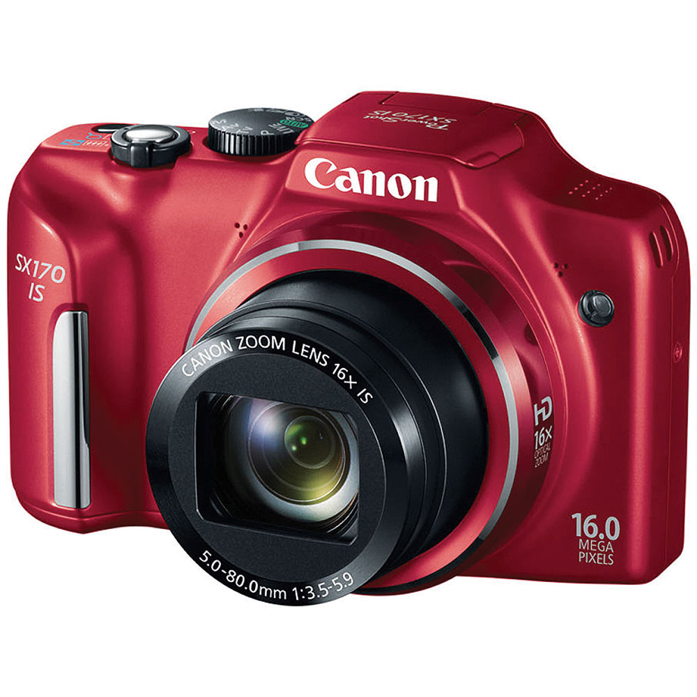 Canon Power Shot SX170 IS Point-and-Shoot Camera (Red ...