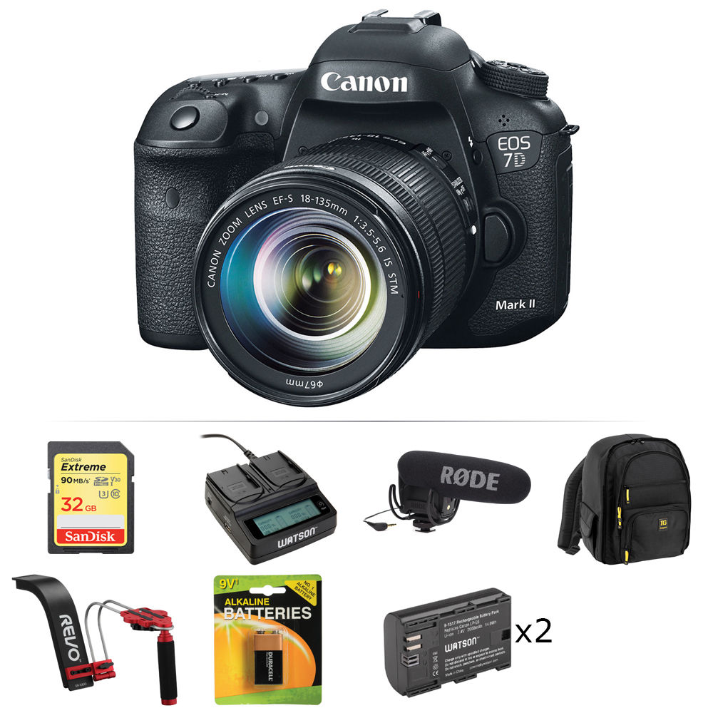 canon eos 7d mark ii dslr camera with 18 135mm lens and. Black Bedroom Furniture Sets. Home Design Ideas