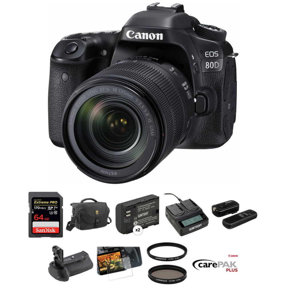 canon eos 80d dslr camera with 18 135mm lens deluxe kit b h. Black Bedroom Furniture Sets. Home Design Ideas