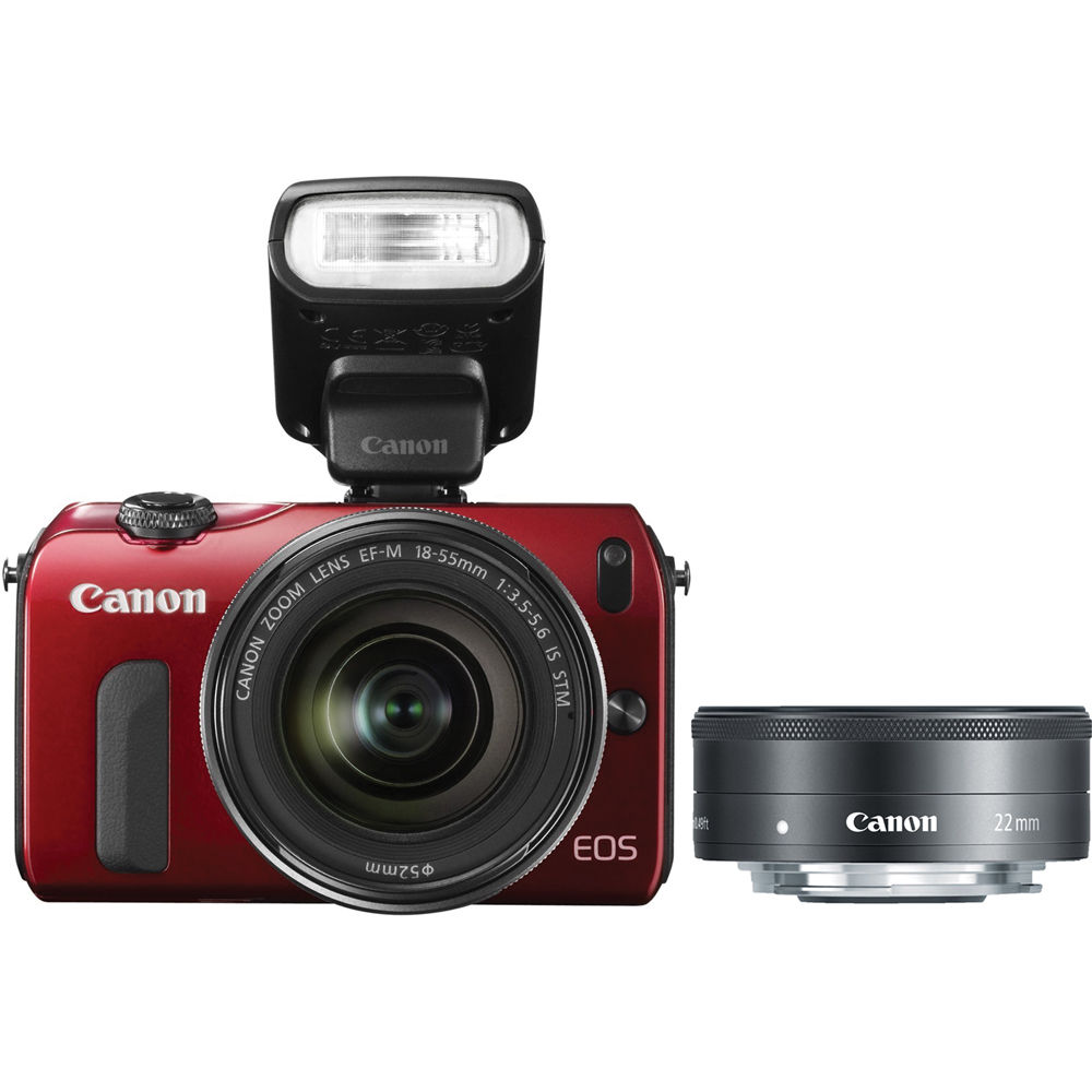 Canon Eos M Mirrorless Digital Camera With Black 22mm 6612b015 Ef F 20 Stm And 18 55mm Lenses Flash