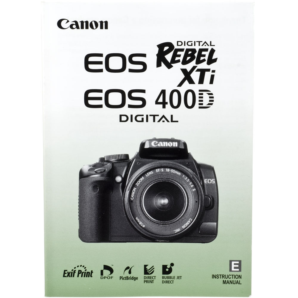 used canon eos rebel xti 400d instuction manual b h photo rh bhphotovideo com Canon DS6041 Kenmore Camera manual canon ds6041 en español
