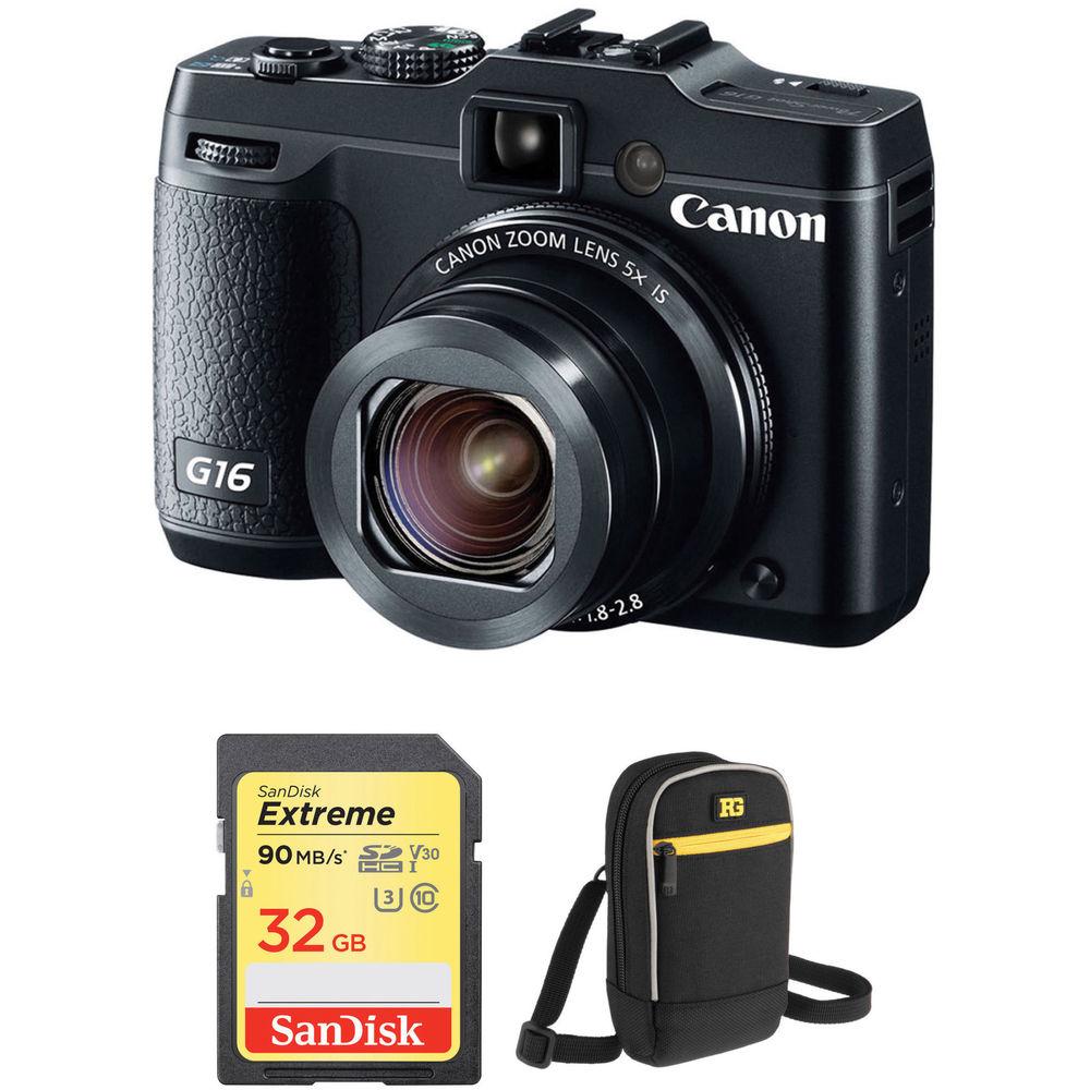 Canon powershot g16 digital camera basic kit b amp h photo video