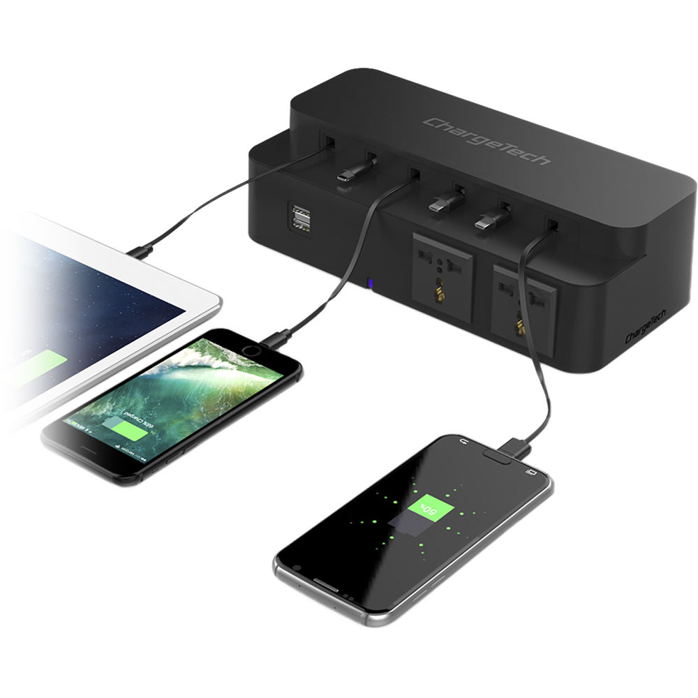 Phone charging station with power strip