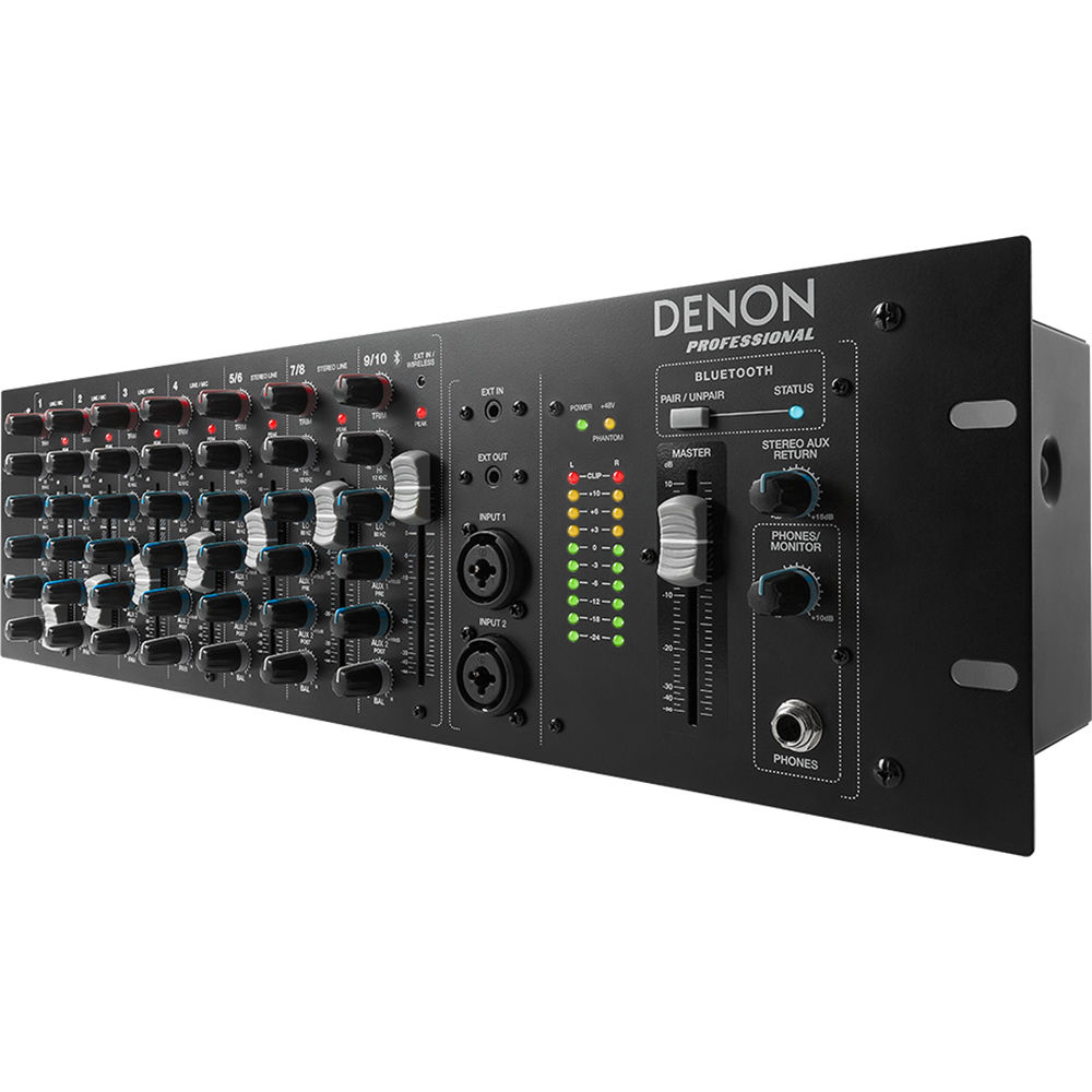 Denon Dn 410x Rackmount Mixer With Bluetooth 10 Channel Stereo For Microphone 2 Channels