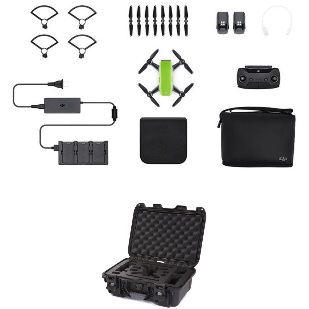 DJI Spark Fly More Combo With Waterproof Case Kit Meadow Green