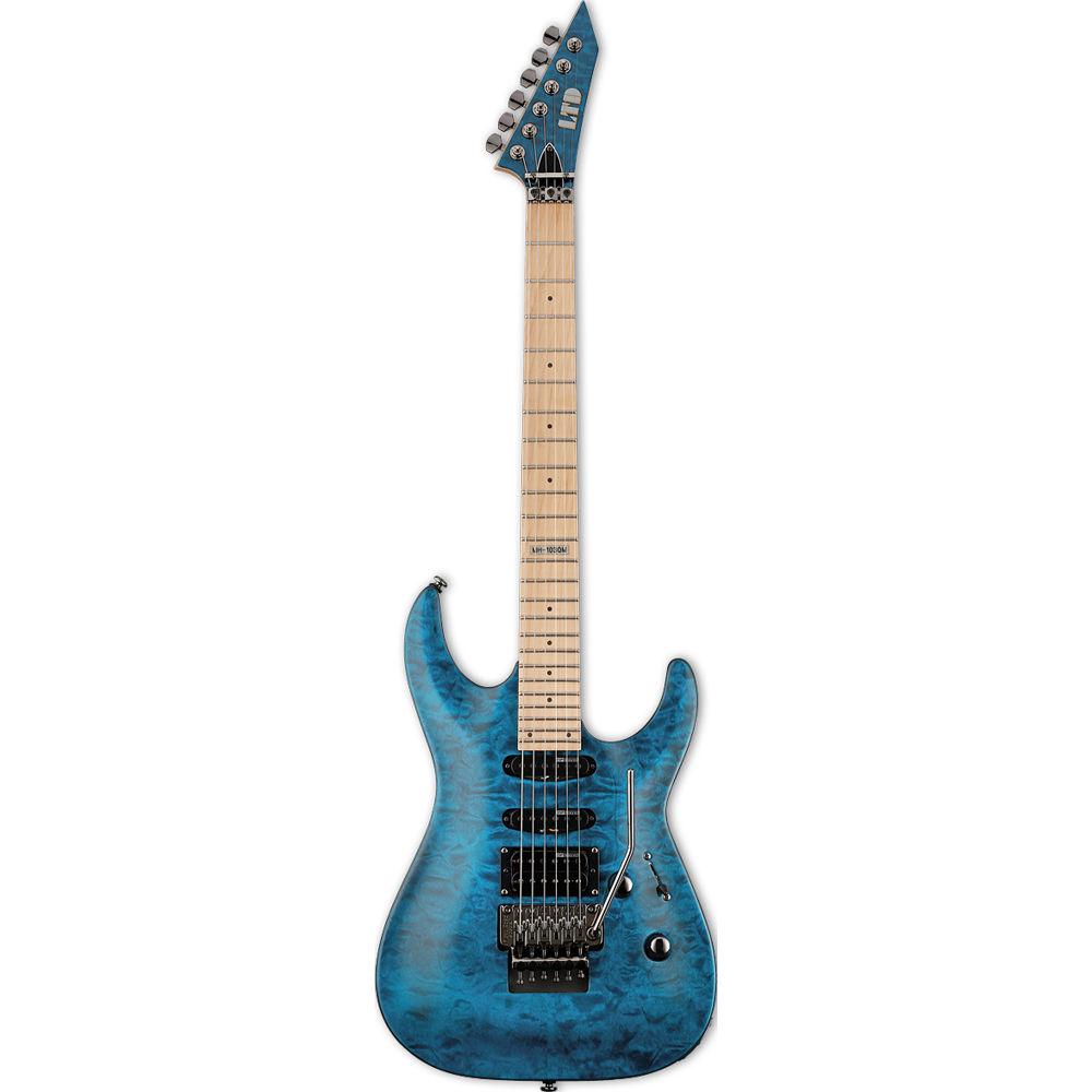 esp ltd mh 103qm electric guitar see thru blue lmh103qmstb b h. Black Bedroom Furniture Sets. Home Design Ideas