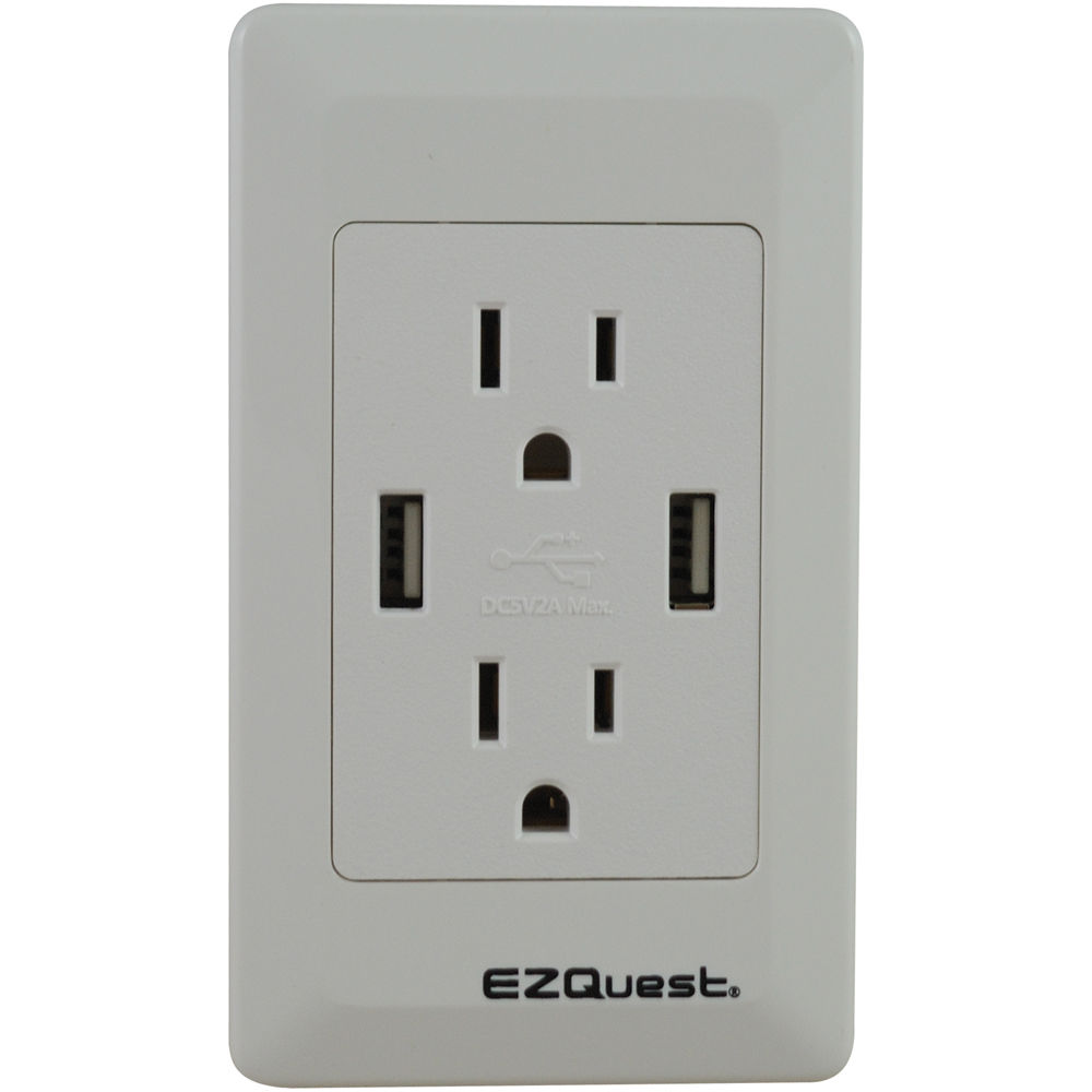ezquest 2 outlet and 2 port usb plug n 39 charge wall outlet. Black Bedroom Furniture Sets. Home Design Ideas
