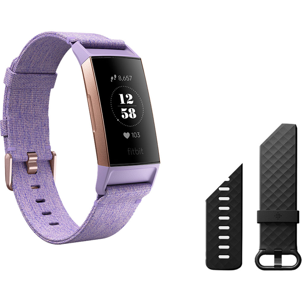 Charge 3 Fitness Wristband (Special Edition, Lavender Woven/Rose Gold  Aluminum)