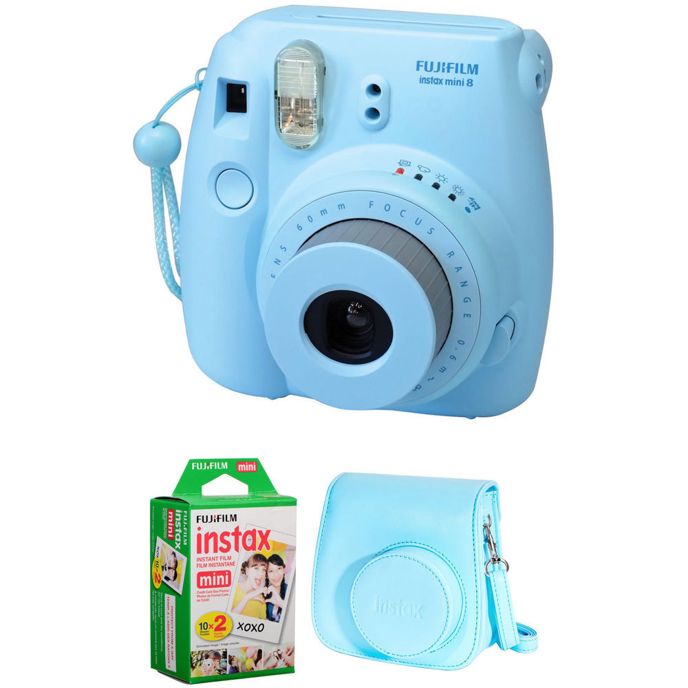 fujifilm instax mini 8 instant film camera basic kit blue. Black Bedroom Furniture Sets. Home Design Ideas