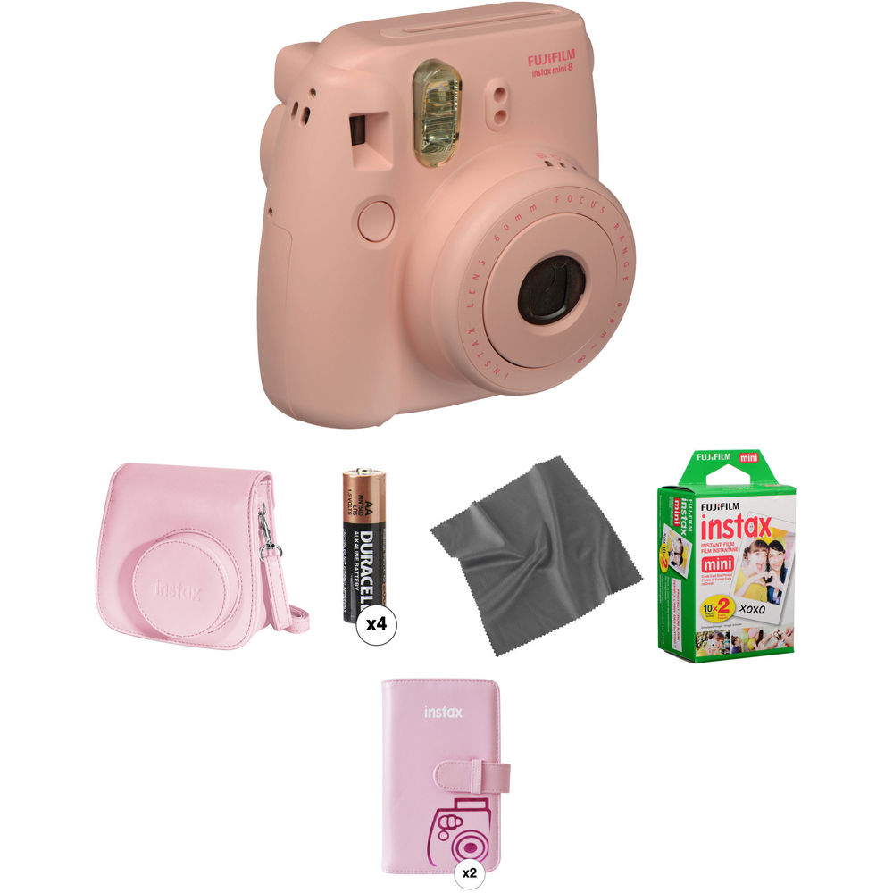 fujifilm instax mini 8 instant film camera pro kit pink b h. Black Bedroom Furniture Sets. Home Design Ideas