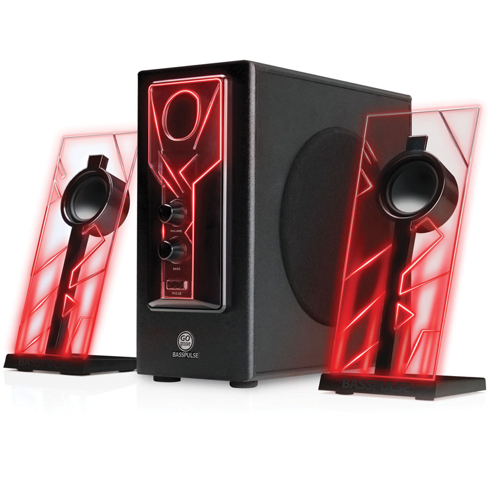Gogroove Basspulse 2 1 Stereo Speaker Sound Ggbp000100rdus B Amp H