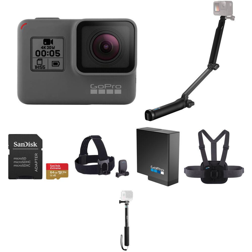 gopro hero5 black selfie stick kit with 32gb microsdhc b h. Black Bedroom Furniture Sets. Home Design Ideas