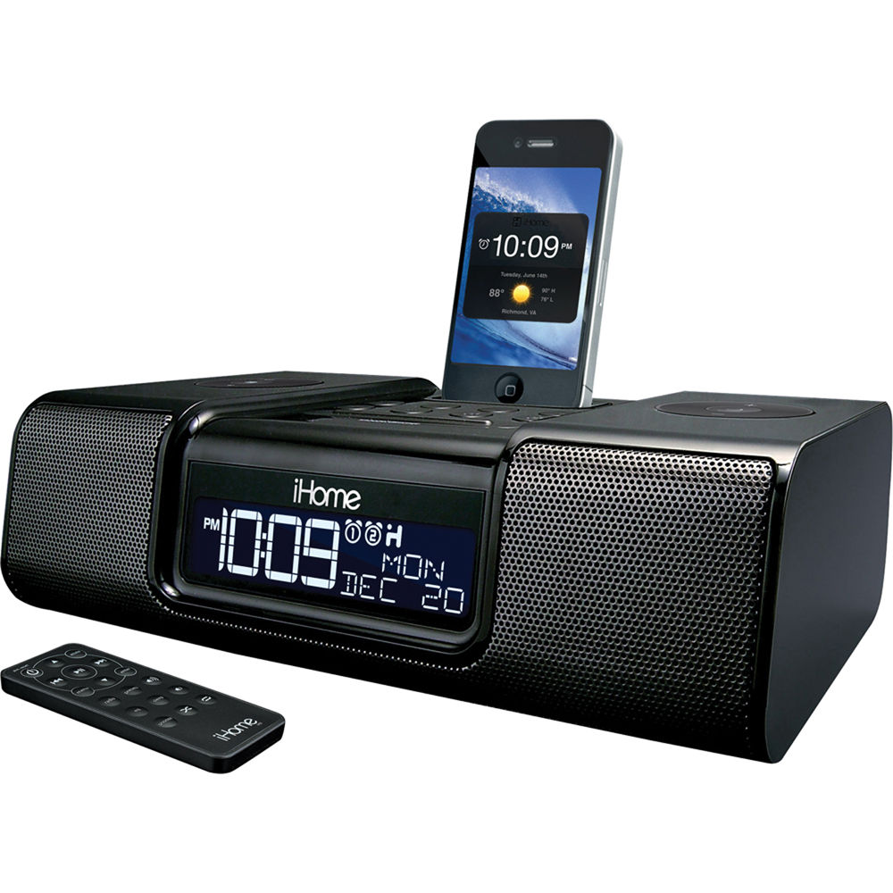 ihome ia9 app enhanced dual alarm clock radio ia9bzc b h photo. Black Bedroom Furniture Sets. Home Design Ideas