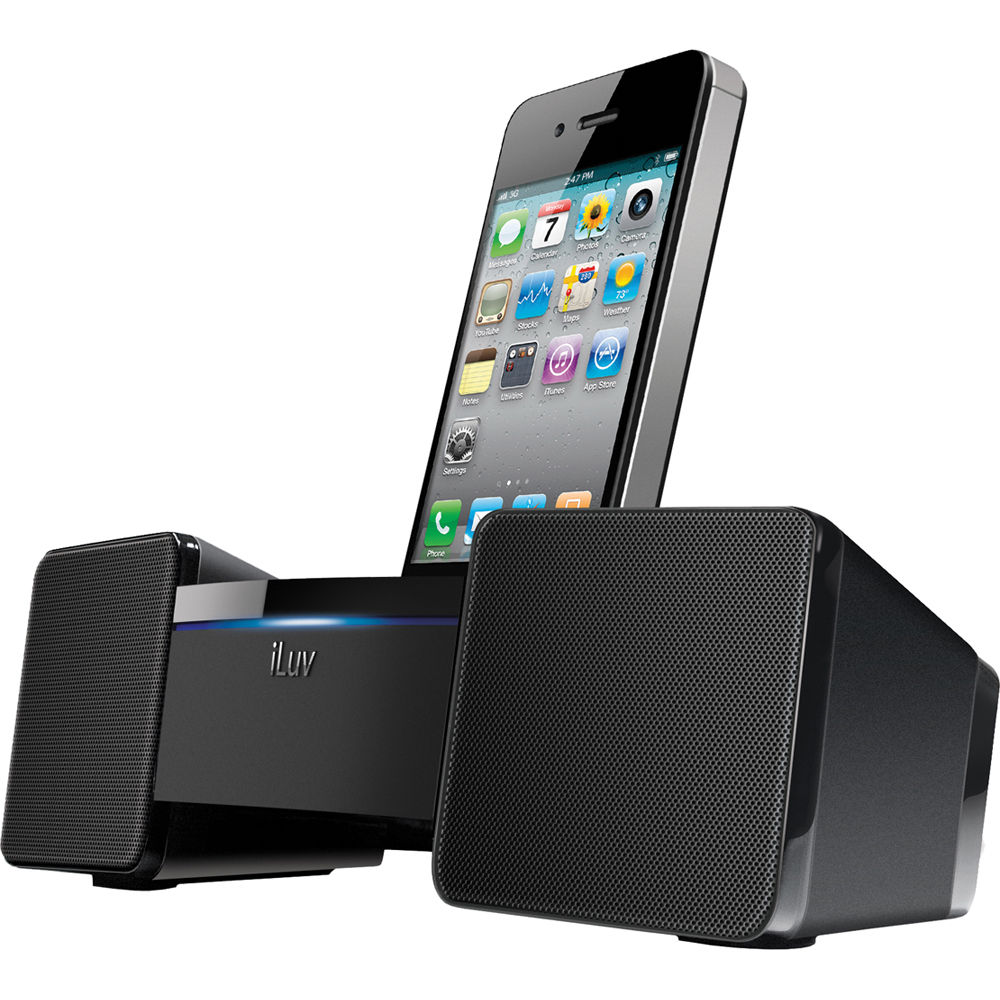 iluv stereo speaker dock for iphone ipod black. Black Bedroom Furniture Sets. Home Design Ideas