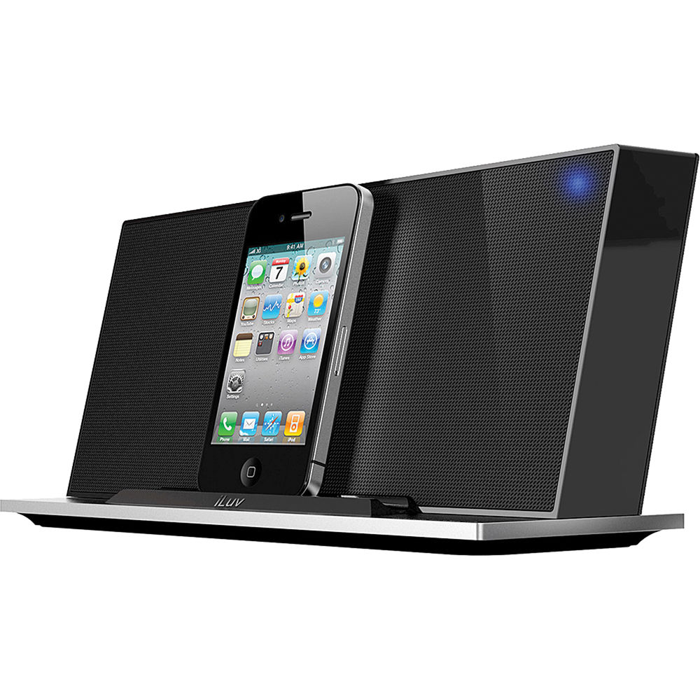 iluv imm288 stereo speaker dock for iphone and ipod imm288blk. Black Bedroom Furniture Sets. Home Design Ideas