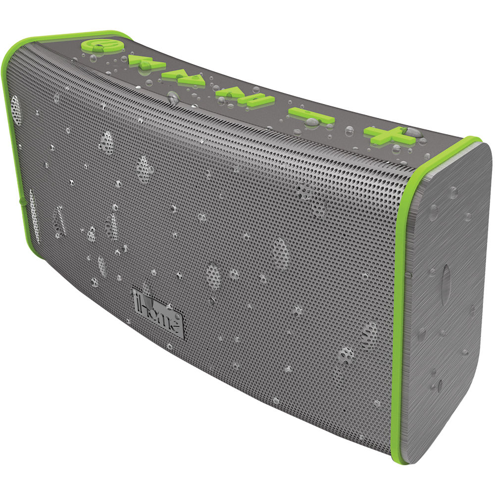 Ihome Bluetooth Portable Speaker: IHome IBT33 Portable Rechargeable Bluetooth Stereo IBT33GQC B&H