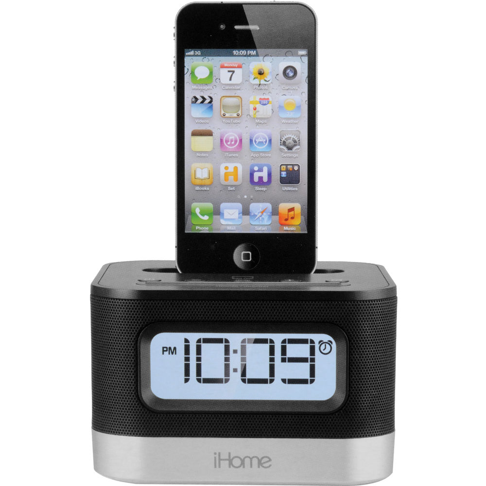 ihome ip10b stereo alarm clock speaker and charging dock ip10b. Black Bedroom Furniture Sets. Home Design Ideas