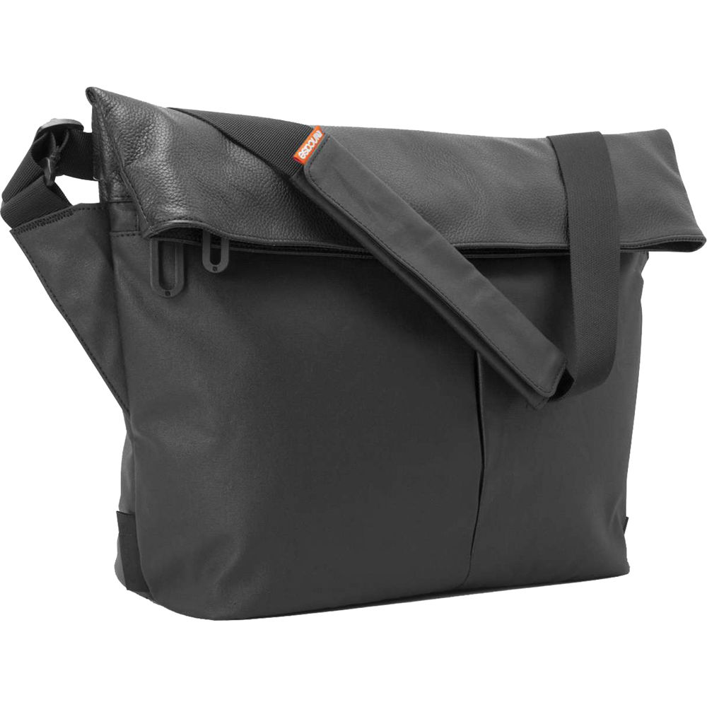 Incase Designs Corp Leather And Canvas Mini Messenger Black