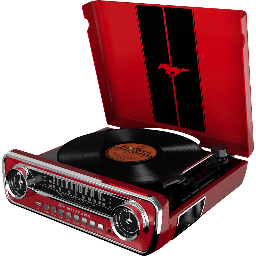 ion audio mustang lp stereo turntable mustang lp red b h photo. Black Bedroom Furniture Sets. Home Design Ideas