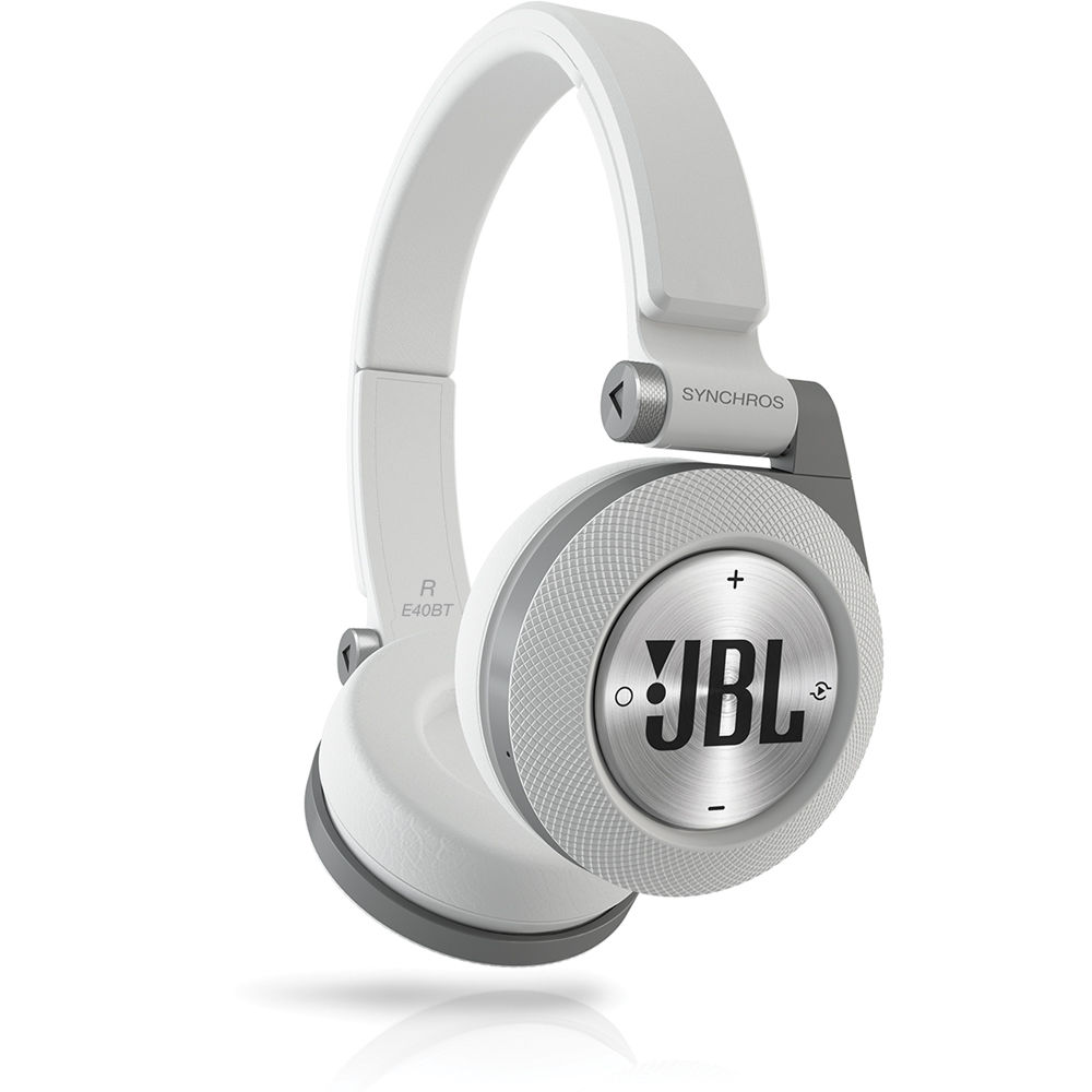 jbl synchros e40bt bluetooth on ear headphones white e40btwht. Black Bedroom Furniture Sets. Home Design Ideas
