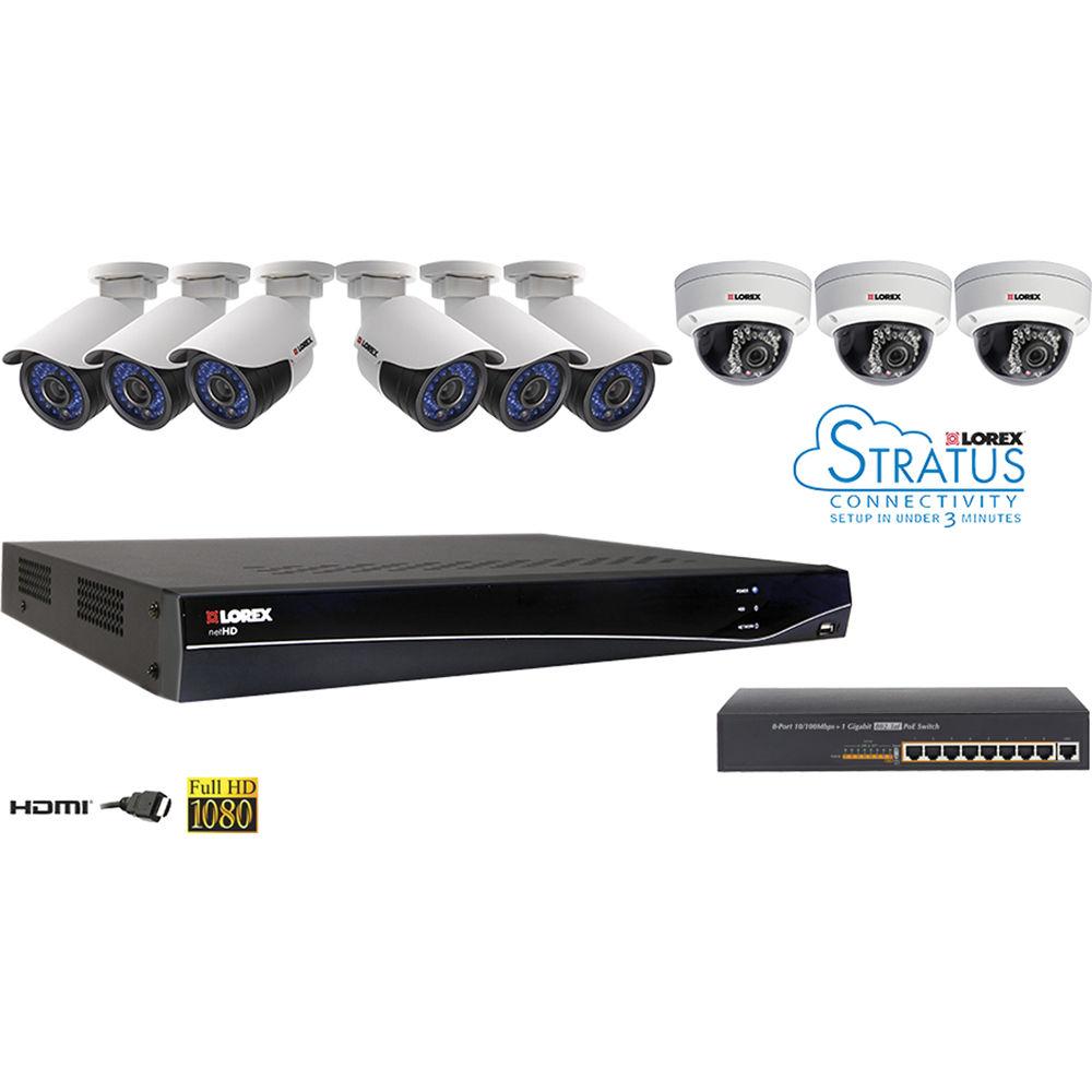 Lorex Lnr300 16 Ch 3tb Nvr Kit With Poe Switch And 9 Lnr363c9b Wiring Diagram Ip Cameras