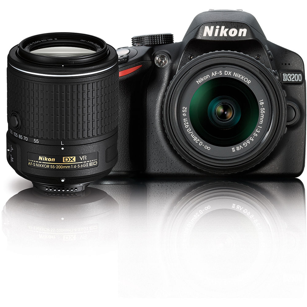 nikon d3200 dslr camera with 18 55mm and 55 200mm vr 13493 b amp h