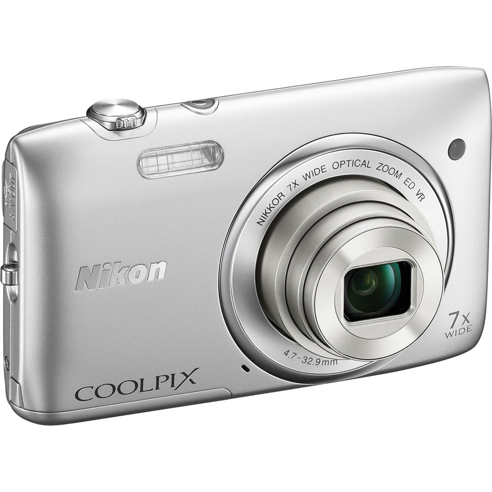 nikon coolpix s3500 digital camera silver 26361 b h photo