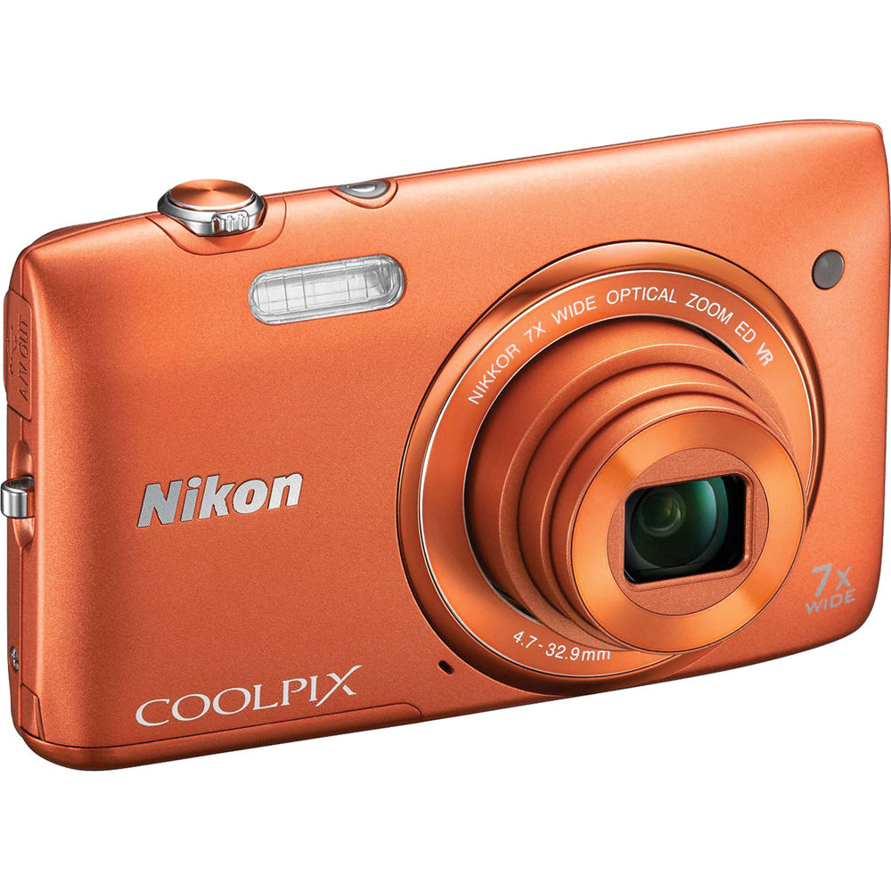 nikon coolpix s3500 digital camera orange 26381 b h photo