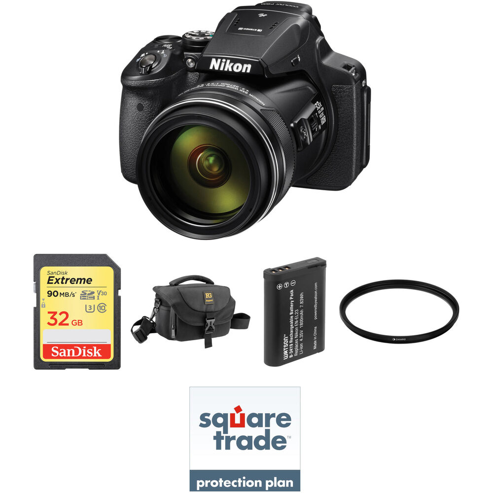 nikon coolpix p900 digital camera deluxe kit b h photo video. Black Bedroom Furniture Sets. Home Design Ideas