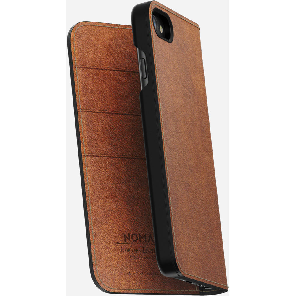 6471af37b0 Nomad Leather Folio Case for iPhone 7/8 (Rustic Brown)