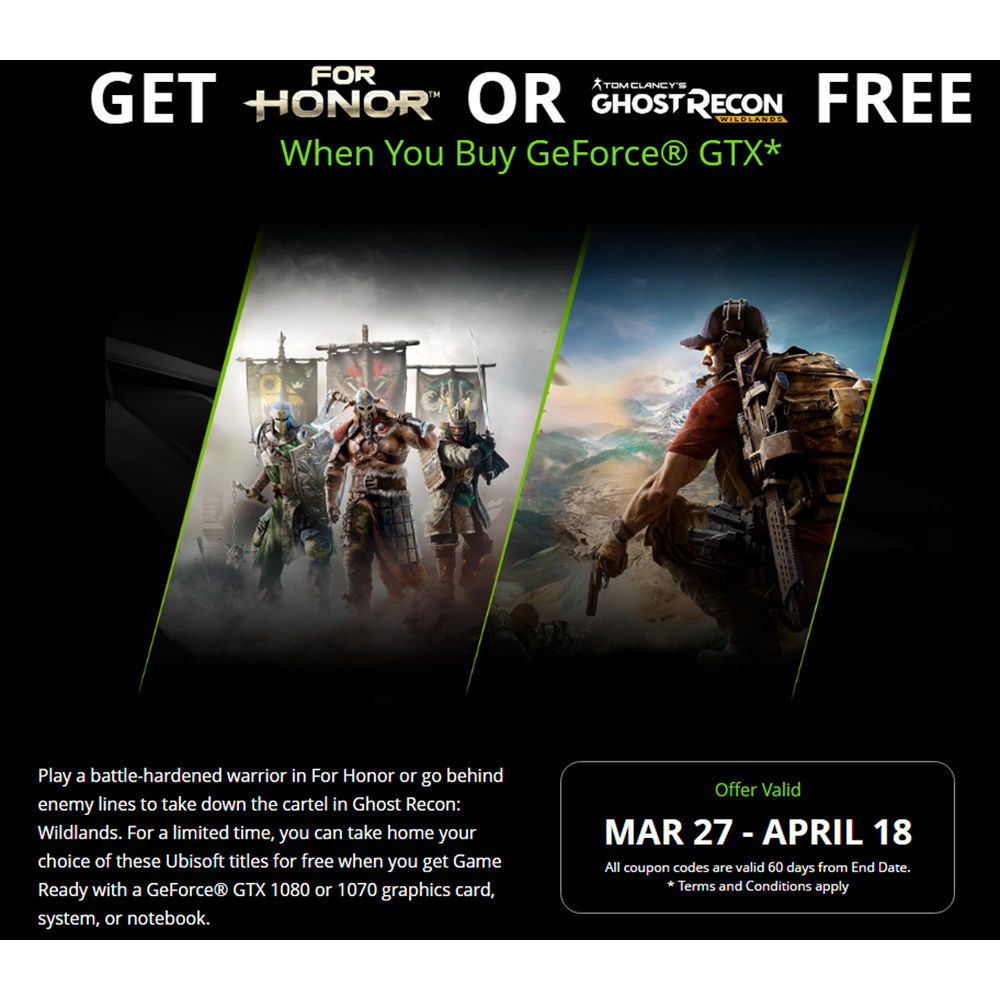 nvidia for honor or ghost recon wildlands promotional bundle
