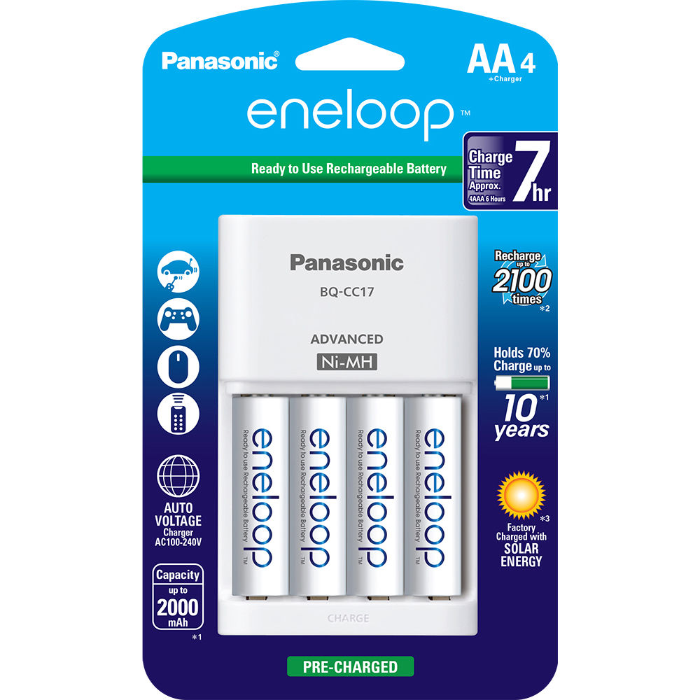 Panasonic Eneloop Rechargeable AA Ni MH Batteries With Charger 2000mAh Pack Of 4