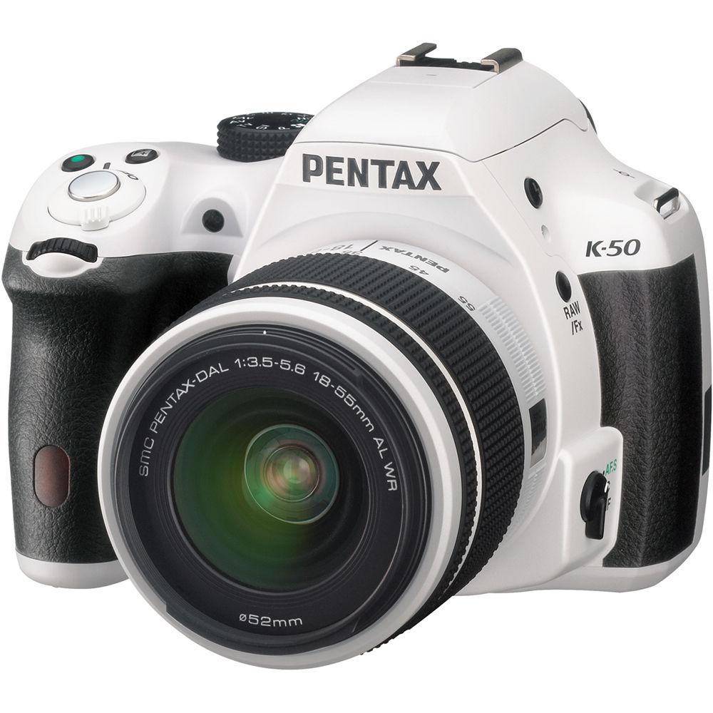 Camera White Dslr Cameras pentax k 50 dslr camera with 18 55mm lens white 10939 bh white