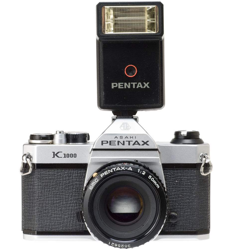 used pentax k1000 35mm slr manual focus camera with 50mm f 2 ka rh bhphotovideo com Pentax K1000 eBay Pentax K1000 Battery
