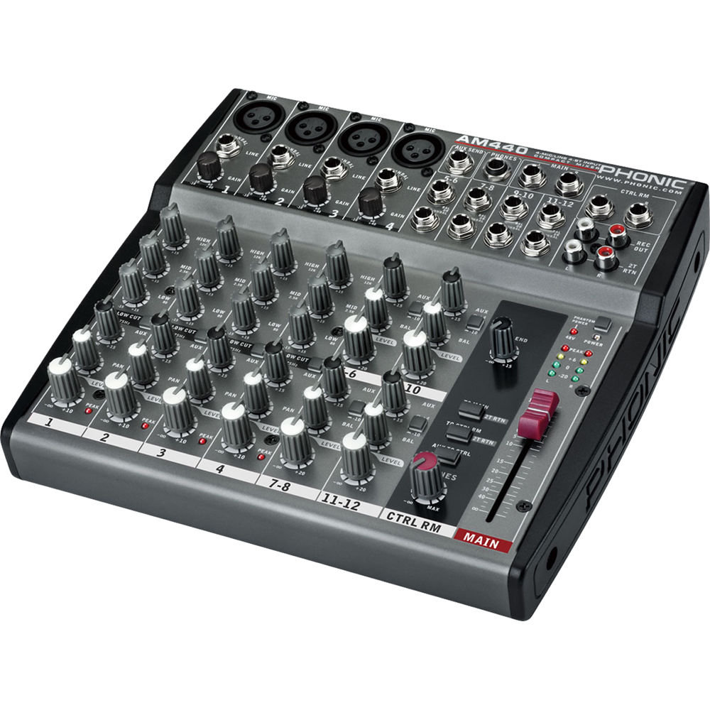 phonic am 440 4 mic line 4 stereo input compact mixer am440 b h. Black Bedroom Furniture Sets. Home Design Ideas