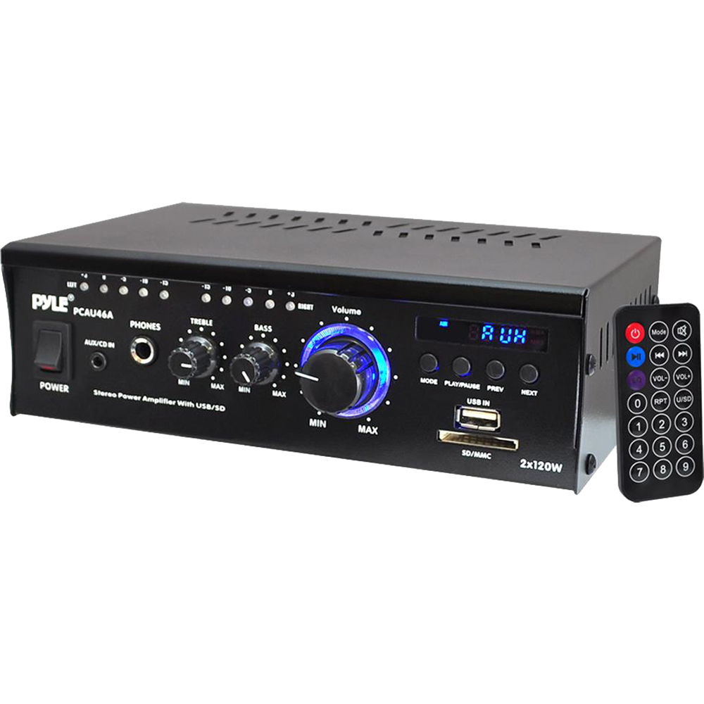 pyle pro pcau46a 2 channel 240w stereo power amplifier pcau46a. Black Bedroom Furniture Sets. Home Design Ideas