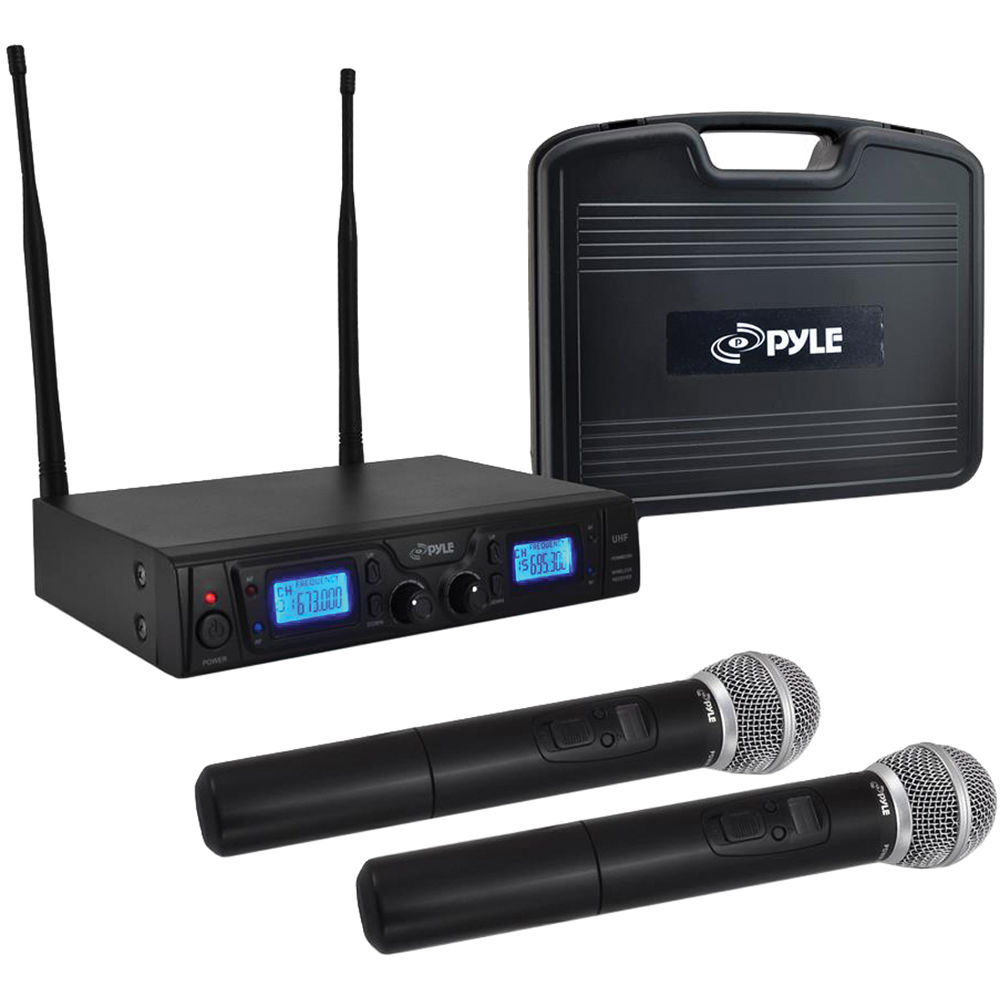 pyle pro pdwm3360 dual handheld uhf wireless microphone pdwm3360. Black Bedroom Furniture Sets. Home Design Ideas