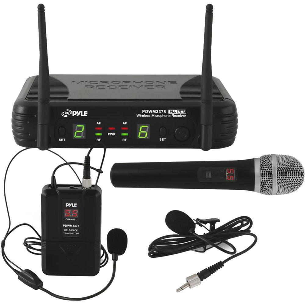 pyle pro uhf wireless microphone system kit pdwm3378 b h photo. Black Bedroom Furniture Sets. Home Design Ideas