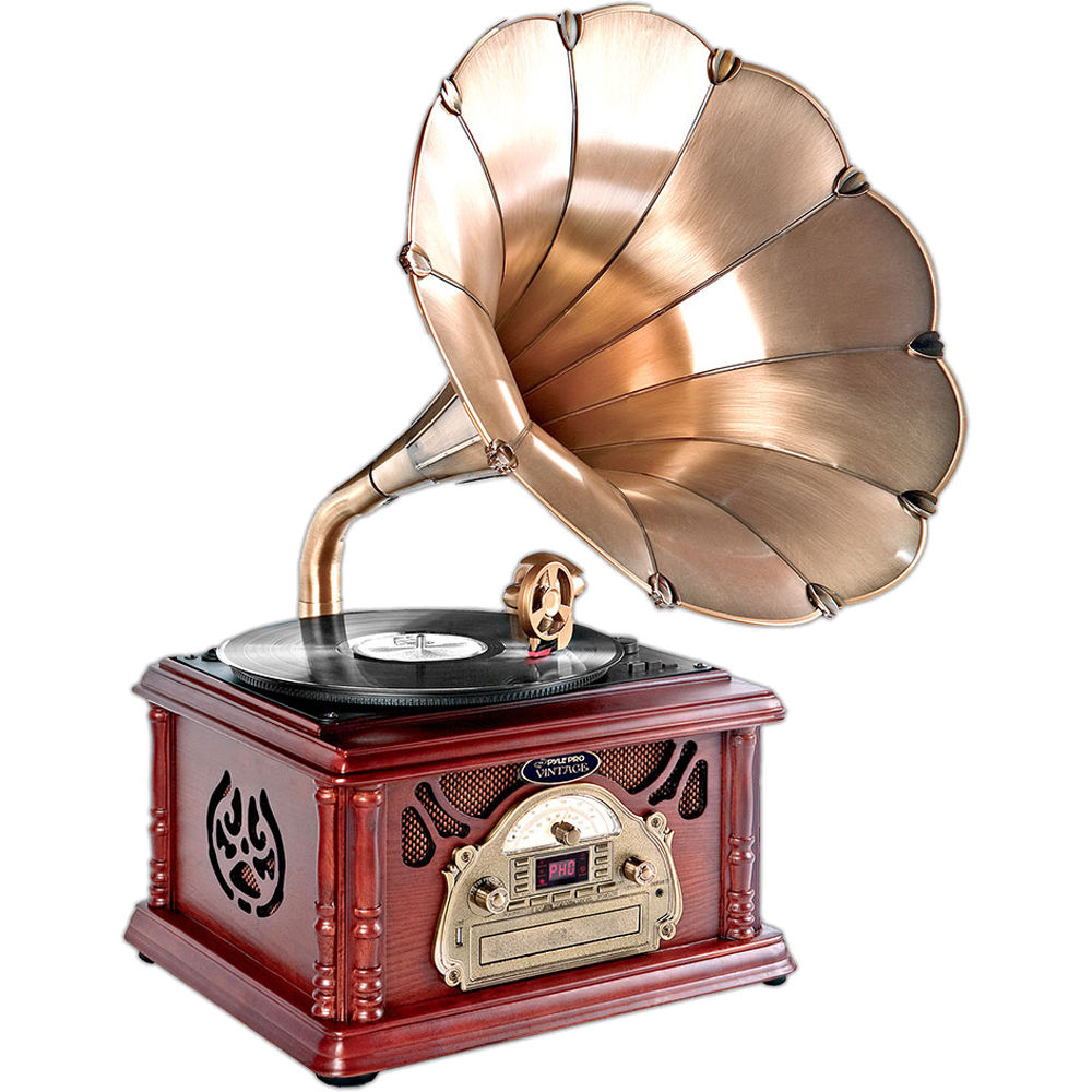 Pyle Pro Vintage Turntable With Horn And Usb Mp3