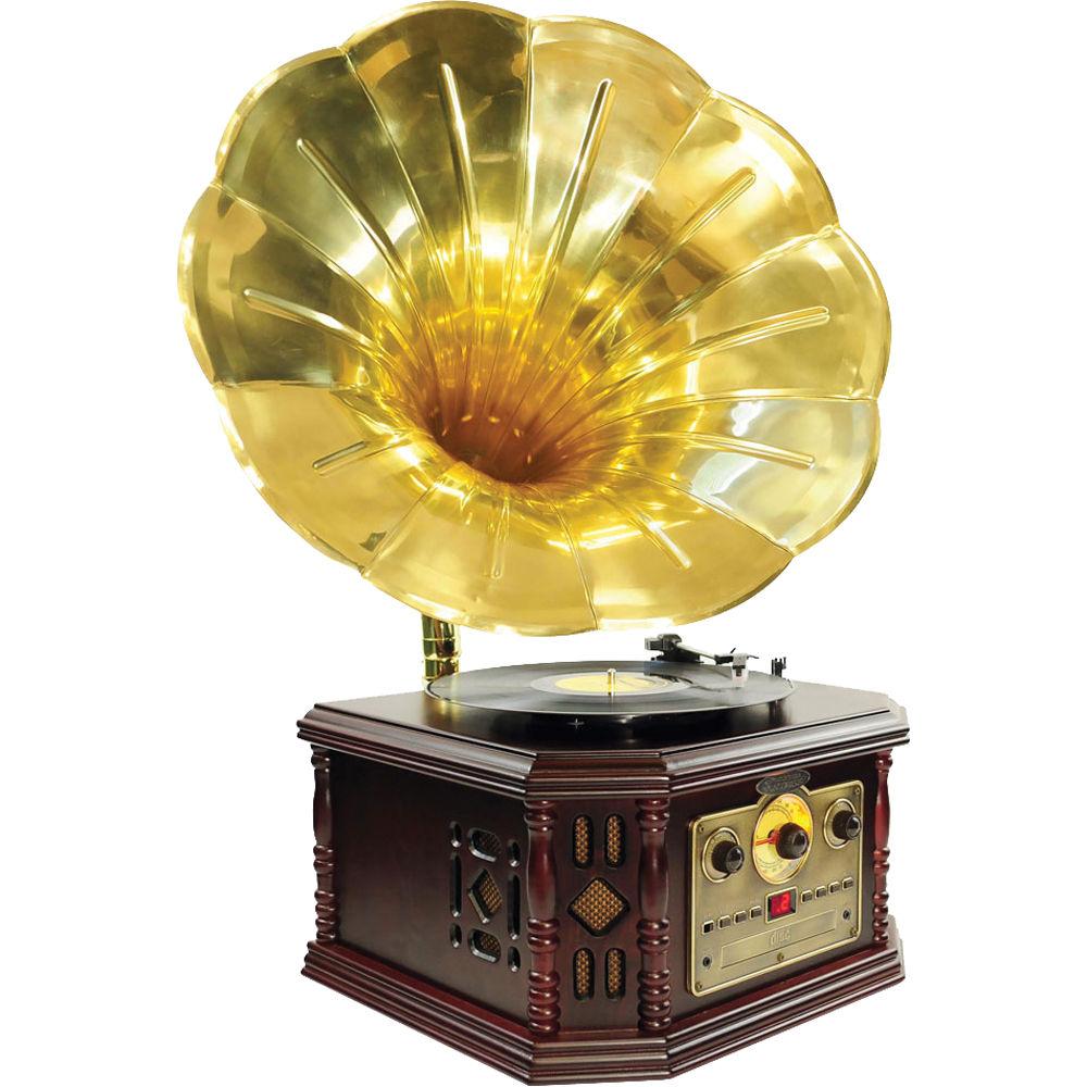 Pyle Pro Pvnp4cd Vintage Phonograph Horn Turntable Pvnp4cd B Amp H