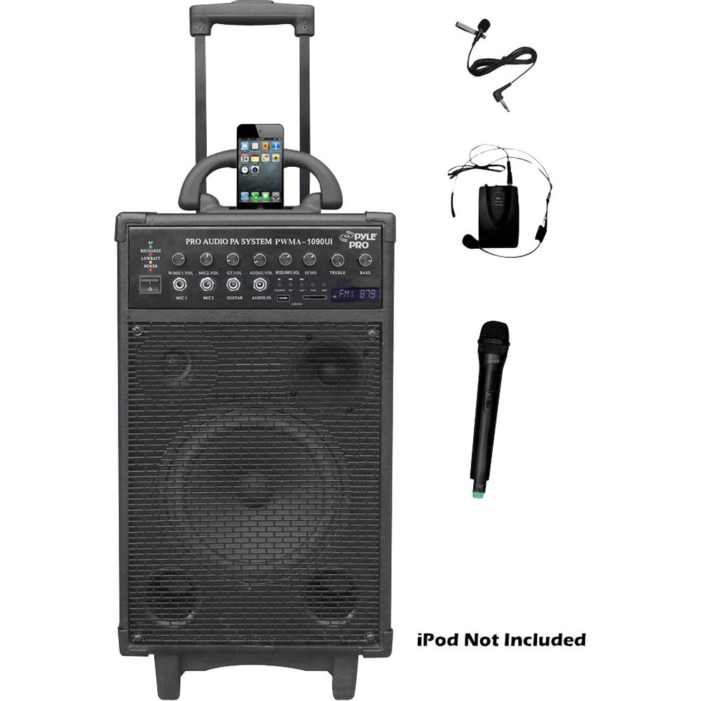 Pyle Pro PWMA1090UI 800W Dual Channel Wireless Rechargeable Portable PA System