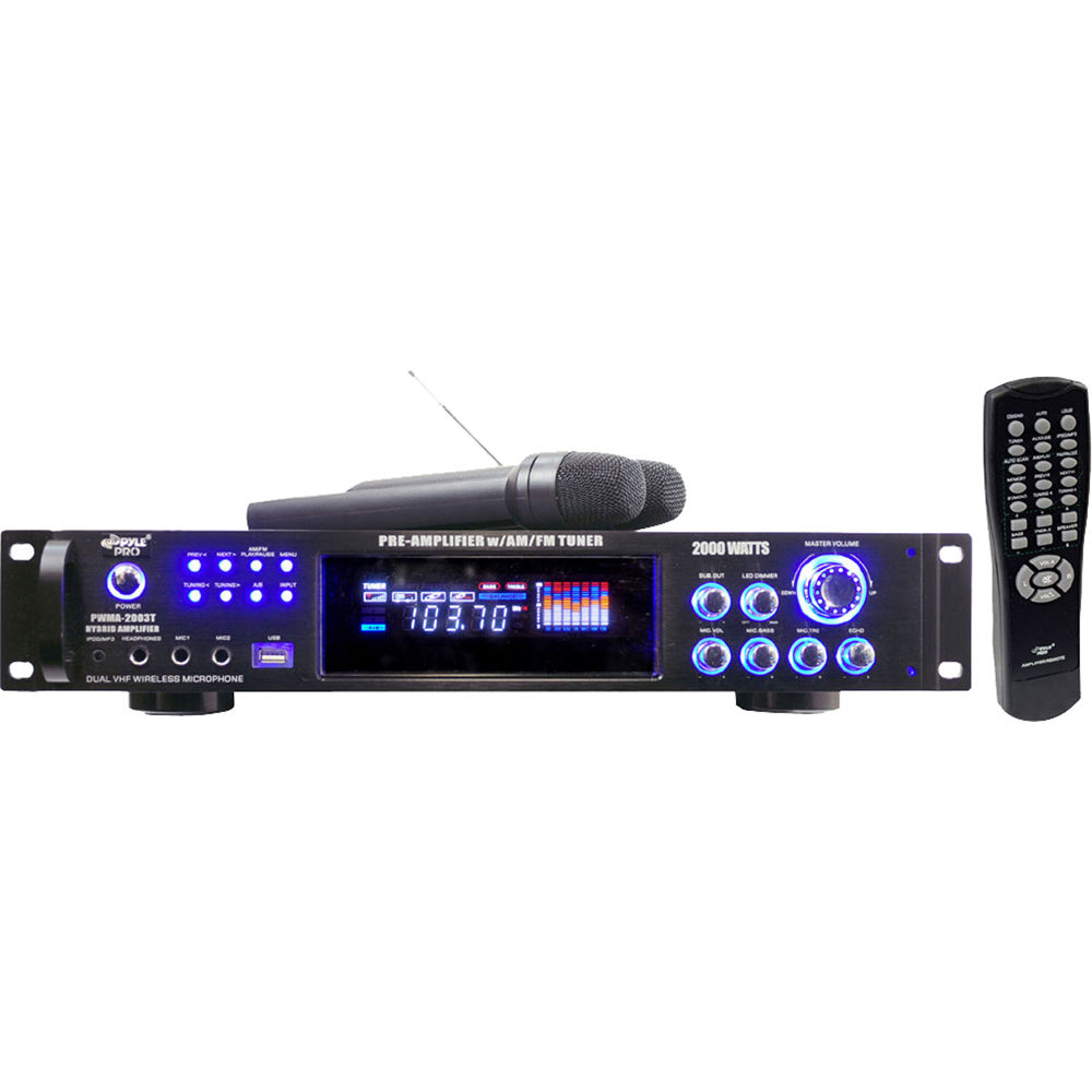 Pyle Pro Pwma2003t Hybrid Stereo Receiver Amplifier With Am Fm Tuner 2 Wireless Microphones