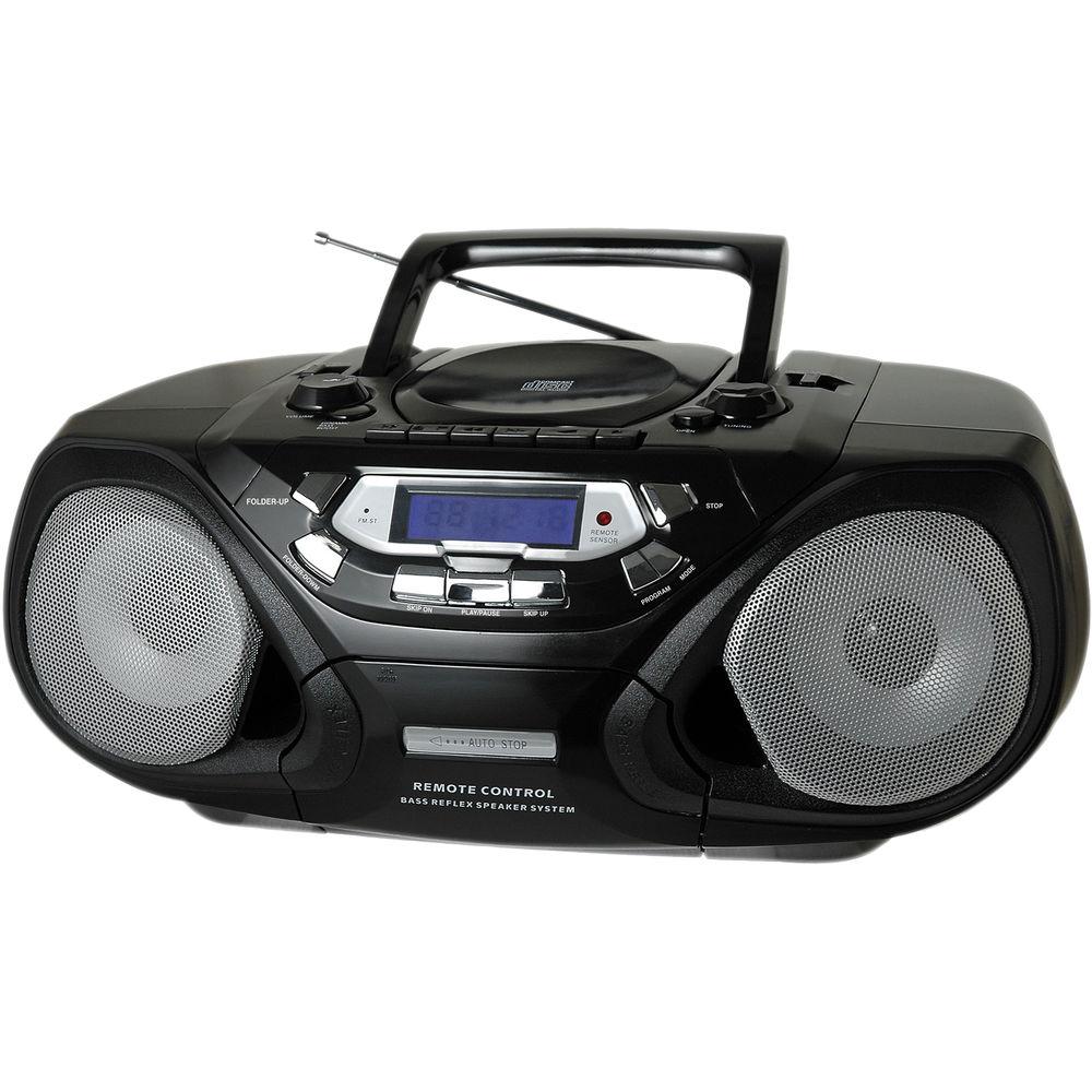 qfx portable cd and cassette player with am fm radio j33 u b h. Black Bedroom Furniture Sets. Home Design Ideas