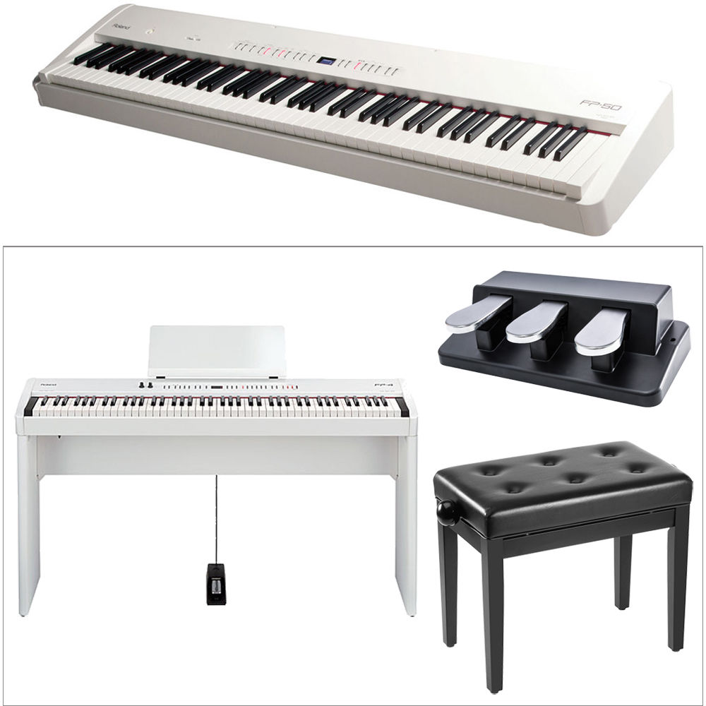 roland fp 50 digital piano kit with stand bench and triple. Black Bedroom Furniture Sets. Home Design Ideas