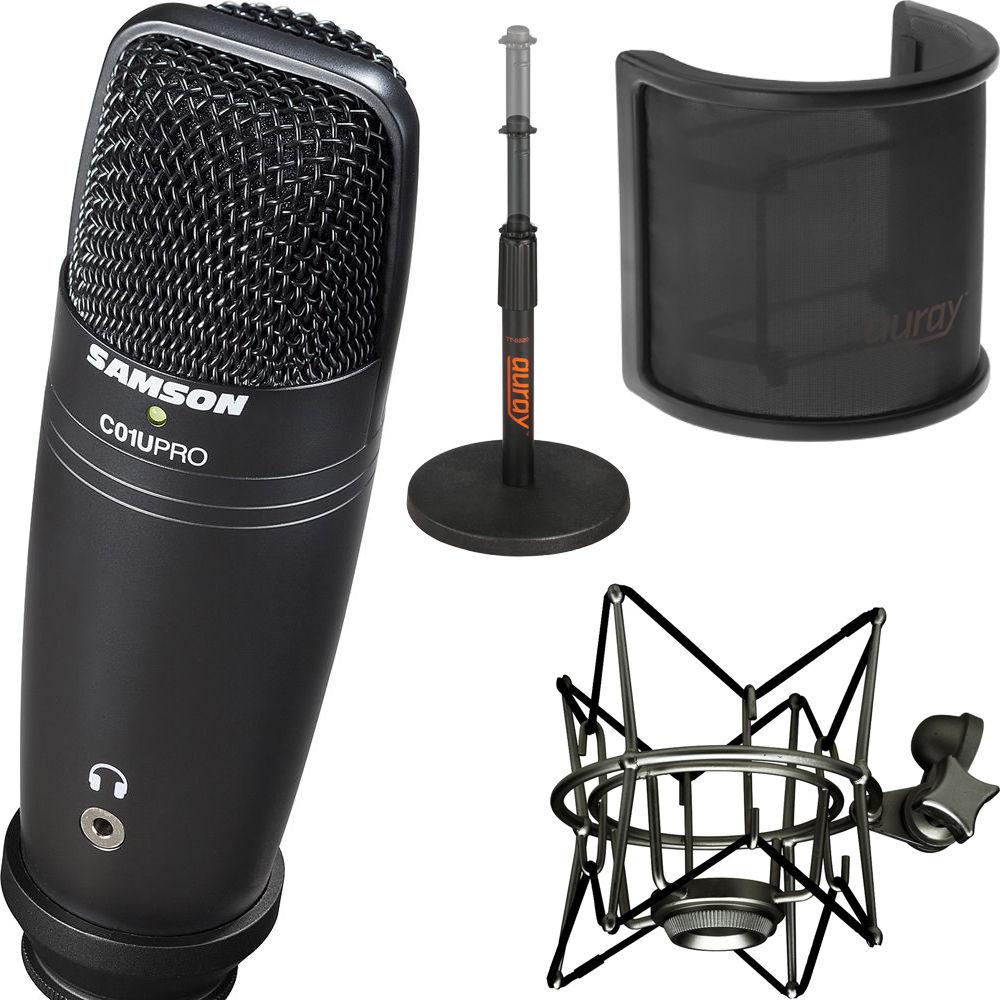 samson c01u pro usb mic stand exclusive black kit b h. Black Bedroom Furniture Sets. Home Design Ideas