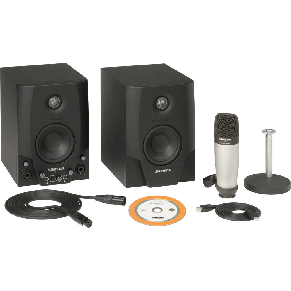Samson Studio Gt Pro Active Monitors With Usb Sasgt4pro Bh Electronics Tv Video Home Audio Speakers Subwoofers Interface And C01 Microphone Package