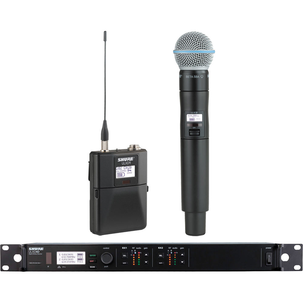 Shure Ulxd D B J Ulxd D B Dual Channel Combo on Shure Dual Wireless Microphone System