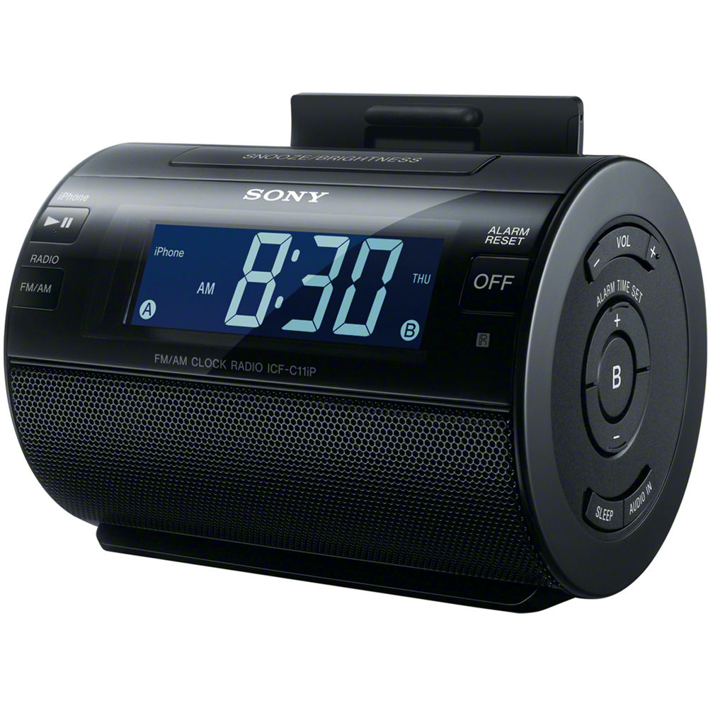 sony ipod clock dock icfc11ip blk b h photo video. Black Bedroom Furniture Sets. Home Design Ideas